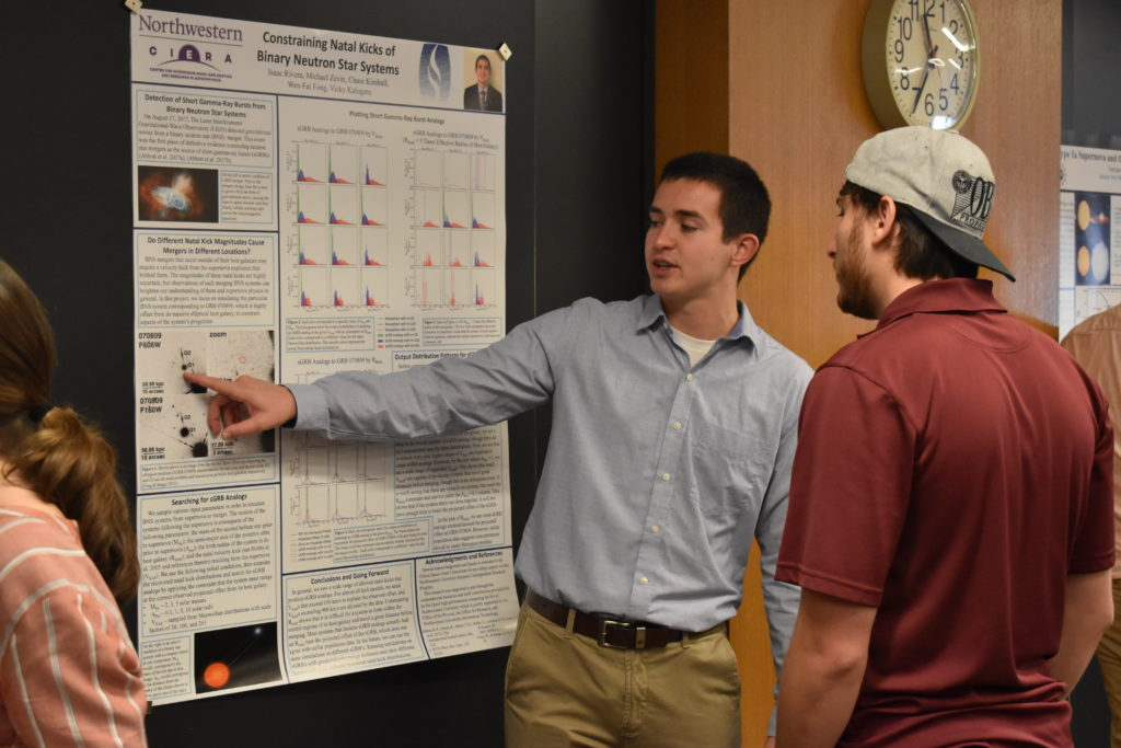 Isaac Rivera explains research during 2018 REU poster session